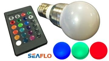4 x COLOUR CHANGING E27 LED LIGHT BULB with REMOTE CONTROL 16 colours x 4 modes
